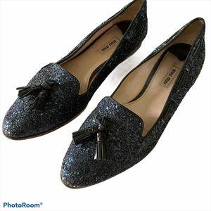 Miu Miu blue glitter flats loafers
